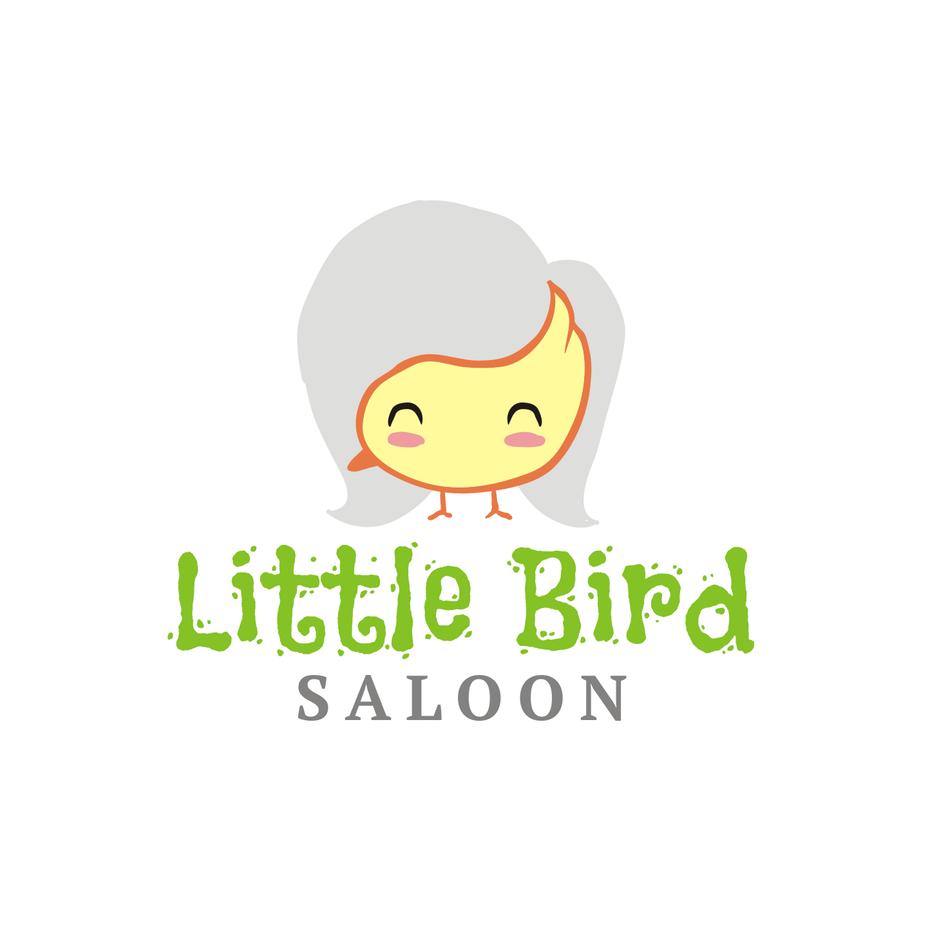 логотип с желтой птицей на сером фоне волос, превращающий его в лицо