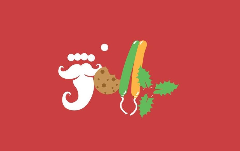 слово «веселый», созданное из букв, которые выглядят как различные предметы: борода Санты, воздушные шары, печенье и падуб «width =» 1000 »height =» 630