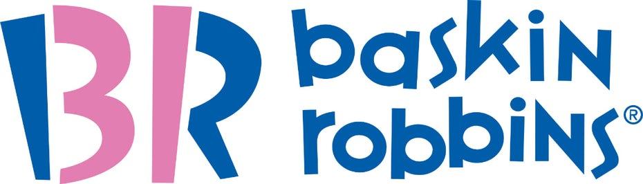"розовый и синий логотип Baskin Robbins ""width ="" 1200 ""height ="" 343"