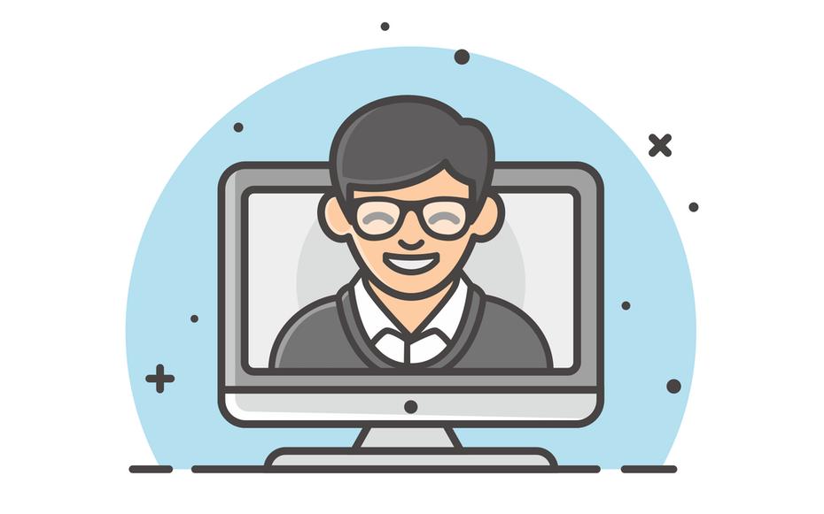 """Иллюстрированный значок улыбающегося человека на экране компьютера """"width ="""" 2000 """"height ="""" 1250"""