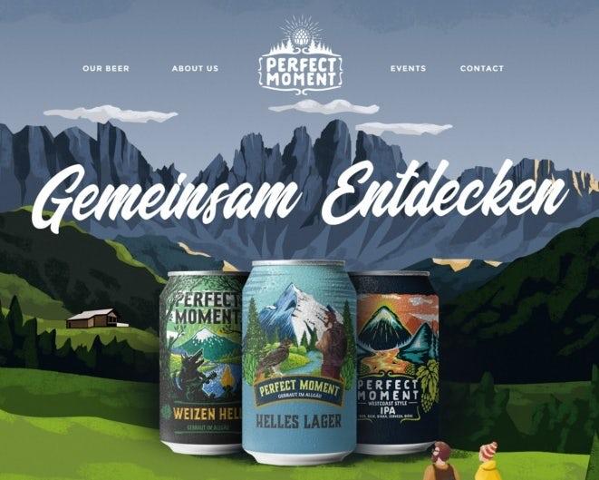 Иллюстрированный дизайн веб-страницы для кемпинга пивоваренного завода