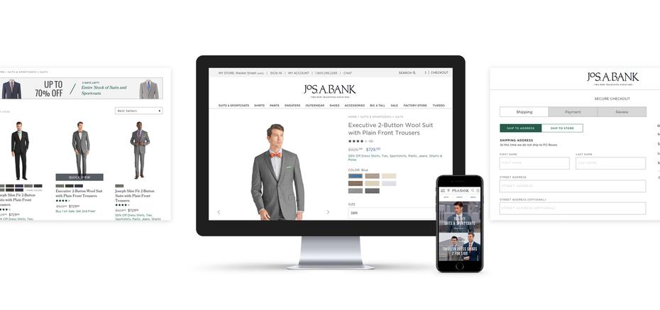 Jos A. Bank розничная веб-страница и дизайн для мобильных устройств