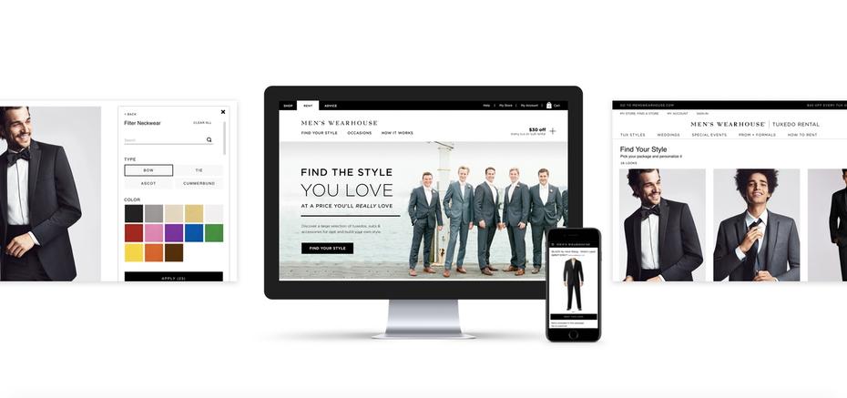Веб-страница мужской одежды в розницу и мобильный дизайн