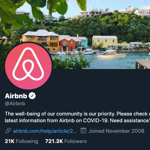 Аватара Airbnb в Твиттере