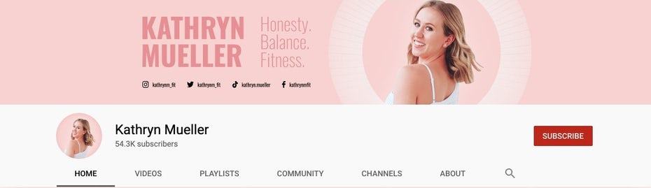 """Розовое изображение в социальных сетях и дизайн профиля для фитнес-бренда """"width ="""" 1161 """"height ="""" 336"""