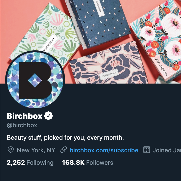 Аватара для Birchbox в Twitter