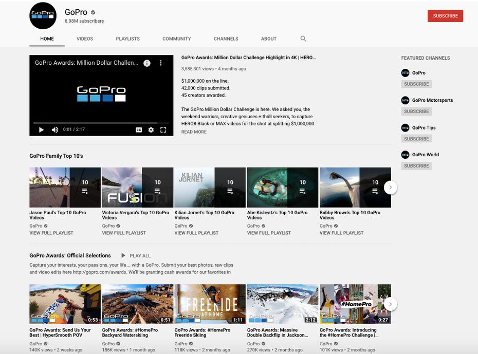 "Снимок экрана канала GoPro на YouTube ""width ="" 940 ""height ="" 696"
