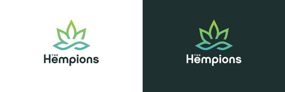 "геометрический логотип листа конопли в зеленом градиенте ""width ="" 1648 ""height ="" 535"