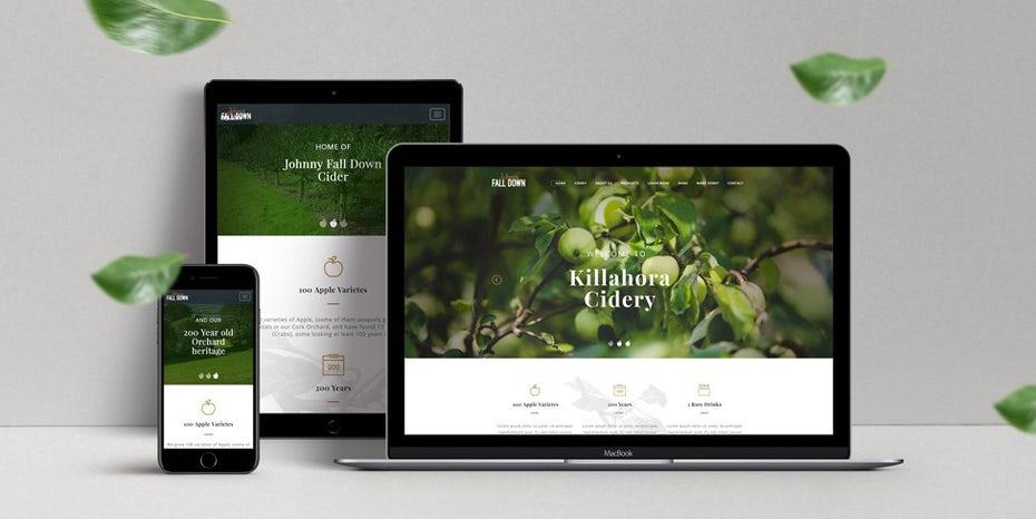 "веб-дизайн на ноутбуке, телефоне и планшете с четким фоном фотографии яблони ""width ="" 975 ""height ="" 489"