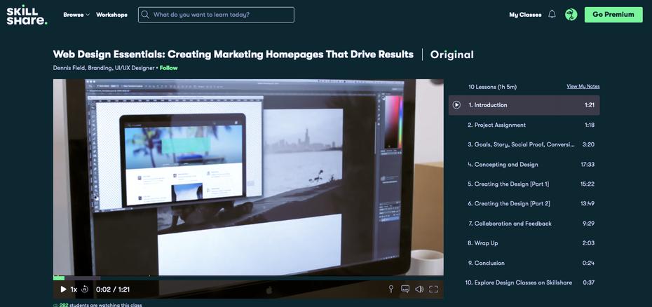 """Снимок экрана учебных пособий по веб-дизайну Skillshare """"width ="""" 1336 """"height ="""" 629 """"/>    <figcaption> через Skillshare </figcaption></figure> <p> <strong> Убедитесь, что вы ознакомились: </strong> </p> <p> Основы веб-дизайна: создание маркетинговых домашних страниц, обеспечивающих результаты. Это видеоурок длится всего 60 минут, но за эти 60 минут вы узнаете основные принципы создания эффективной маркетинговой домашней страницы. Это руководство не только о визуальных аспектах дизайна, но и о том, как создавать веб-страницы с целью конвертации как можно большего числа посетителей. </p> <p> <strong> Также не пропустите: </strong> </p> </p> <figure data-id="""