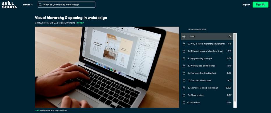 """Снимок экрана учебных пособий по веб-дизайну Skillshare """"width ="""" 2508 """"height ="""" 1046 """"/>    <figcaption> через Skillshare </figcaption></figure> <p> <strong> О Skillshare: </strong> </p> <p> Как и Coursera, Skillshare огромен и предлагает занятия вне веб-дизайна и разработки — хотя они обслуживают творческие профессии, такие как веб-дизайн. Курсы разбиты на видеоуроки по 5-10 минут каждый, которые вы можете смотреть по собственному расписанию до завершения. </p> <p> Прелесть Skillshare в том, что вы можете легко разветвляться на отдельные, но связанные темы. Например, если вы хотите включить тактику SEO в свой веб-дизайн, вы можете пройти курс по этому вопросу. Их план членства предлагает неограниченное количество уроков, поэтому учащиеся могут в полной мере воспользоваться этим, изучая такие области, как графический дизайн, анимация, творческое письмо или стратегии цифрового бизнеса. </p> <p> <strong> Особенности: </strong> </p> <ul> <li> Веб-разработка </li> <li> UX design </li> <li> Отзывчивые учебники веб-дизайна </li> <li> Дизайн сайта WordPress </li> <li> Графический дизайн </li> <li> Анимация </li> <li> Другие связанные темы: SEO, электронная торговля и т. Д. </li> </ul> <p> <strong> Цена: </strong> </p> <ul> <li> 15 долл. США в месяц (8,25 долл. США в месяц, оплачиваемые ежегодно) </li> <li> Бесплатный 14-дневный след после регистрации </li> <li> Тысячи бесплатных занятий, если у вас мало средств </li> </ul> <p> <strong> Рекомендуется для: </strong> </p> <ul> <li> Учащиеся, которые хотят получить более широкое образование, кроме одного только веб-дизайна </li> </ul> <h2><span id="""