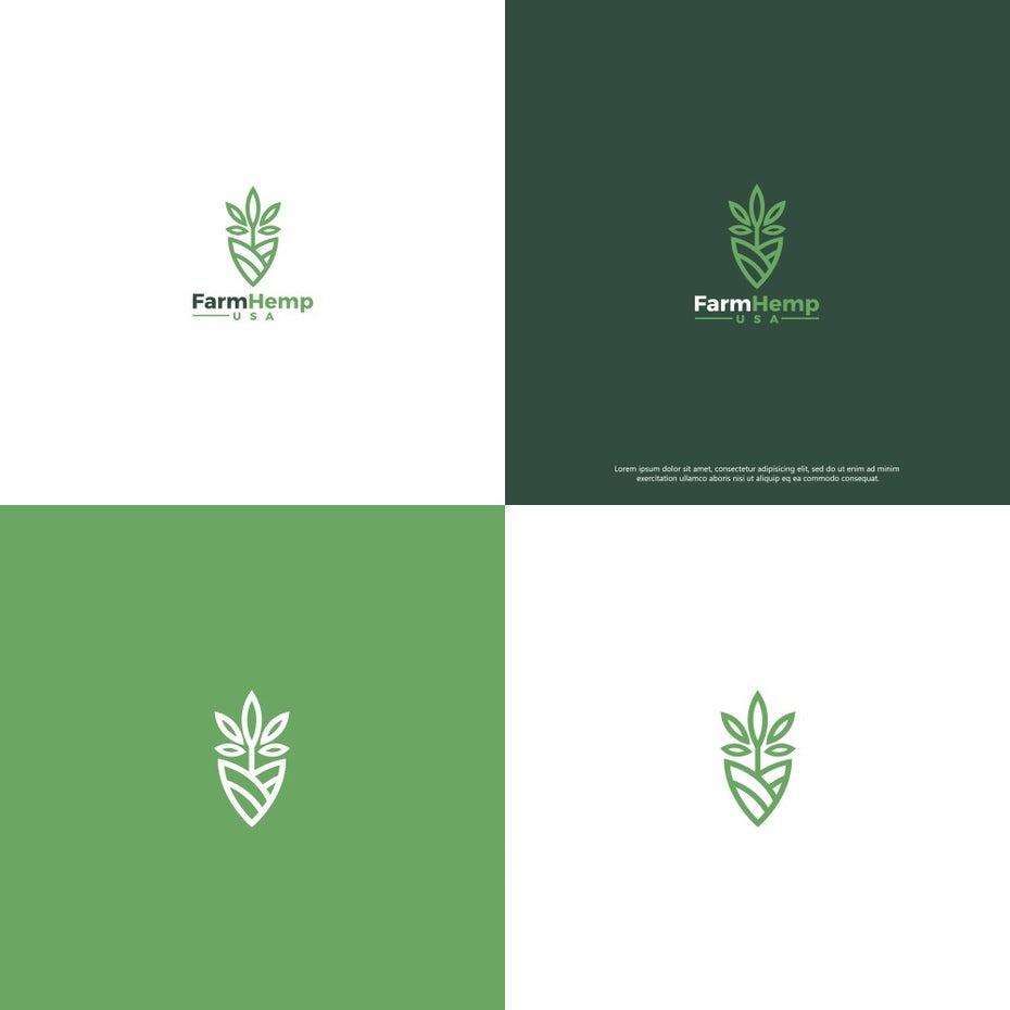 зеленые логотипы для конопляной компании