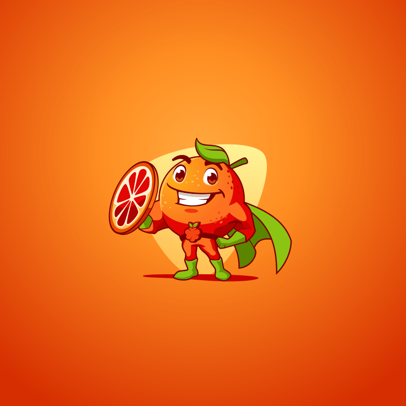 оранжевый с лицом и зеленой накидкой
