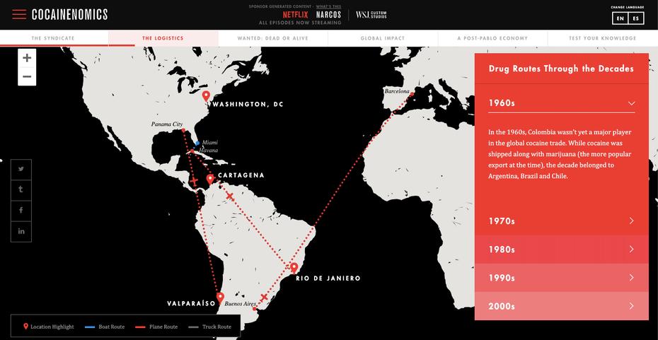 """Netflix и интерактивная карта WSJ по истории торговли наркотиками для Narcos """"width ="""" 1435 """"height ="""" 742 """"/>    <figcaption> Для рекламы своего шоу <em> Narcos </em>Netflix спонсировал интерактивную историческую статью об экономике незаконного оборота наркотиков в сотрудничестве с Wall Street Journal на впечатляющем примере местной рекламы. </figcaption></figure> <ul> <li> <strong> Реклама в социальных сетях </strong>: компании платят чтобы их посты в социальных сетях занимали более высокое место в алгоритме платформы и появлялись в новостных лентах не-подписчиков, которые имеют похожие покупки или просмотр страниц. </li> <li> <strong> Платные поисковые объявления </strong>: Компании платят за то, чтобы их веб-страницы занимали верхние позиции на странице результатов общего поиска для выбранных ключевых слов или фраз. </li> <li> <strong> Рекламируемые списки </strong>: компании платят за то, чтобы их продукты были перечислены вверху страницы результатов поиска на веб-сайте или в приложении для покупок. </li> <li> <strong> Рекомендуемые списки </strong>: компании платят за то, чтобы их продукты или контент размещались в соответствующих / рекомендуемых разделах на сайтах магазинов или контента («Рекламные продукты, связанные с этим элементом» на Amazon). </li> <li> <strong> Партнерство с Influencer </strong>: деловые круги сотрудничают со звездами социальных сетей с высоким числом подписчиков в своей целевой демографической группе и создают фирменный контент для канала этого влиятельного лица. </li> <li> <strong> Спонсированный контент </strong>: Предприятия спонсируют подкасты, видеоканалы или определенные фрагменты контента. В рекламе может участвовать создатель контента, который читает длинную копию объявления или просто сообщает аудитории, что контент «представлен» указанным брендом. </li> <li> <strong> Размещение продукта </strong>: Компании платят за то, чтобы их продукты продавались без прямой рекламы в видео или видеоиграх. </li> </ul> <p> Нативная реклама м"""