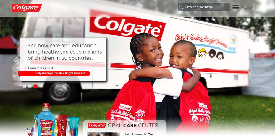 "Снимок экрана веб-сайта Colgate Oral Care Center ""width ="" 1257 ""height ="" 625"