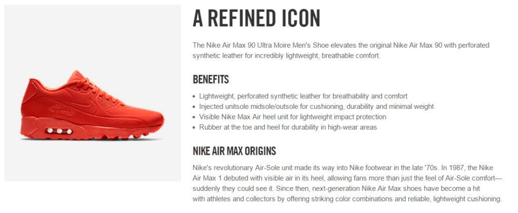 """Описание продукта Nike, показывающее красные кроссовки """"width ="""" 1024 """"height ="""" 421"""