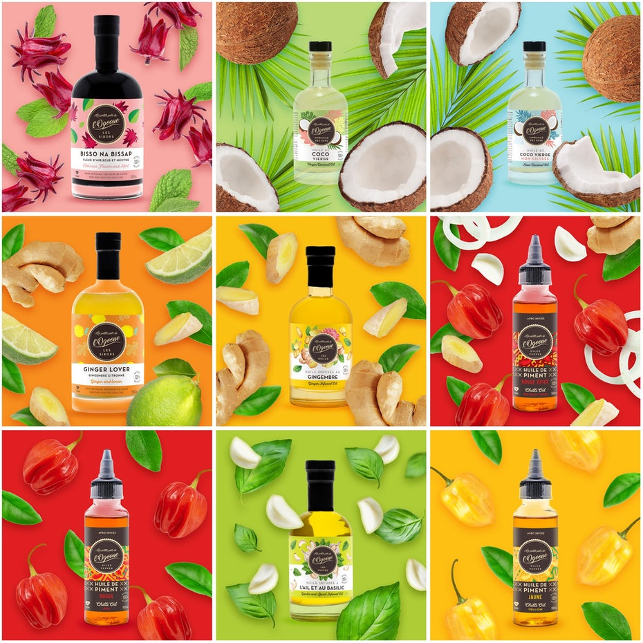 """Изображения в Instagram, показывающие различные продукты в бутылках на ярком фоне """"width ="""" 2000 """"height ="""" 2000"""
