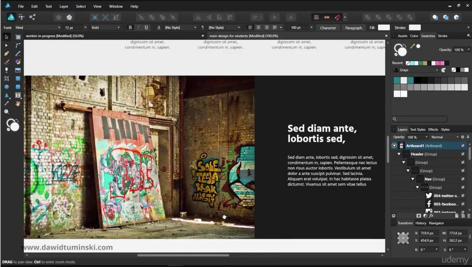 """Скриншот веб-дизайна, созданного в Affinity Designer """"width ="""" 1600 """"height ="""" 906 """"/>    <figcaption> <span style="""