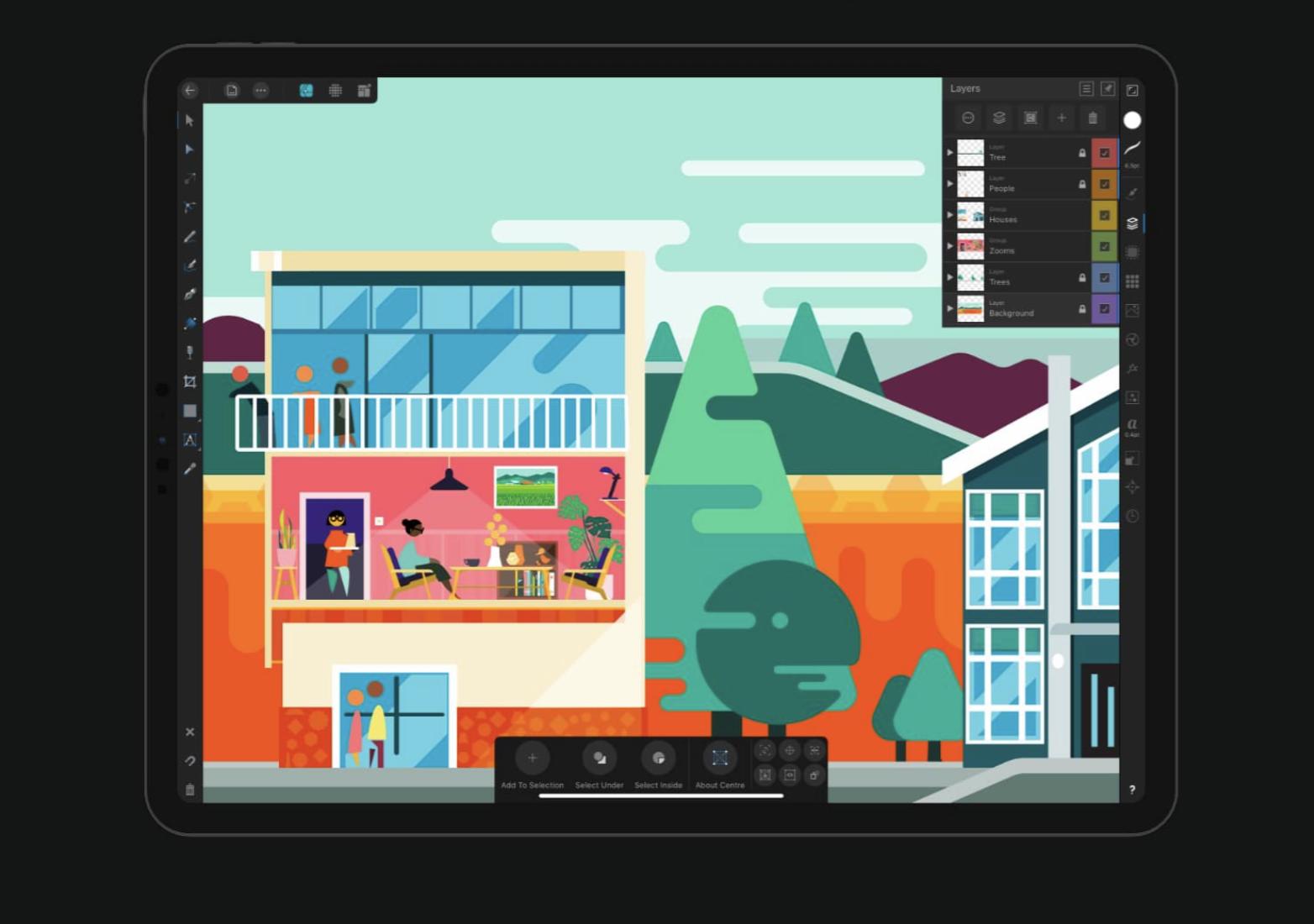 """iPad с иллюстративным рисунком жилого дома в красочной палитре """"width ="""" 1564 """"height ="""" 1100 """"/>    <figcaption> Макет платформы для рисования Affinity Designer на iPad </figcaption></figure> <h3><span id="""
