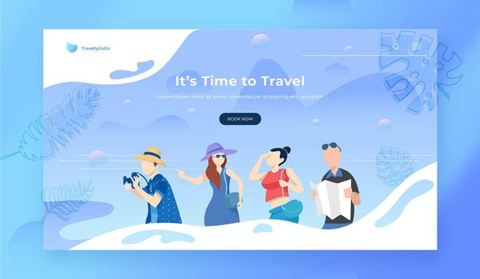 Иллюстрация заголовка героя путешествия Посадочная страница