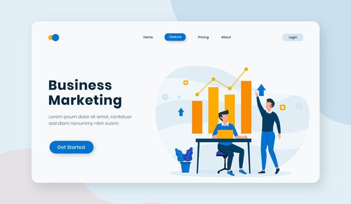 Плоская целевая страница бизнес-маркетинга