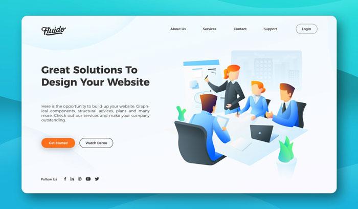 Дизайн заголовка главного веб-сайта офиса