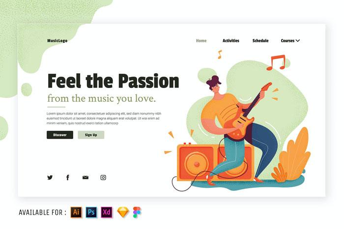 Иллюстрация веб-страницы с музыкой имеет значение
