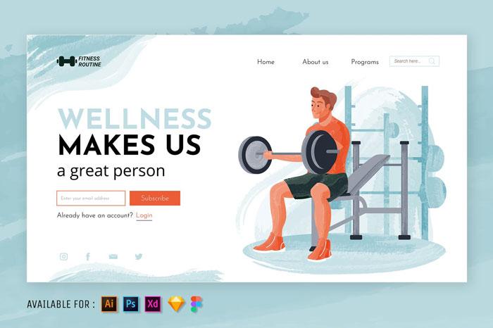 Фитнес Акварельная веб-иллюстрация