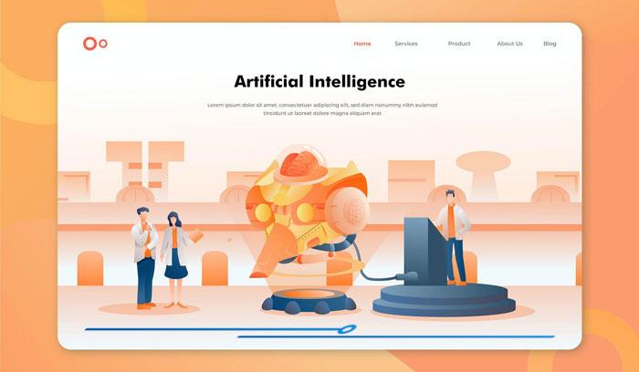 Иллюстрация заголовка героя искусственного интеллекта