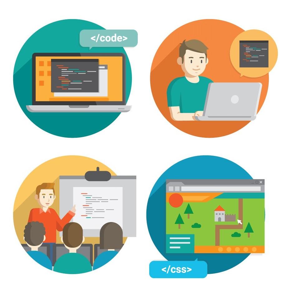 """Плоский дизайн персонажей и значков для кодирования и веб-разработки """"width ="""" 1000 """"height ="""" 1000 """"/>    <figcaption> Конструктор веб-сайтов может устранить некоторые этапы создания веб-сайта. Дизайн by damuhra </figcaption></figure> <h3 id="""