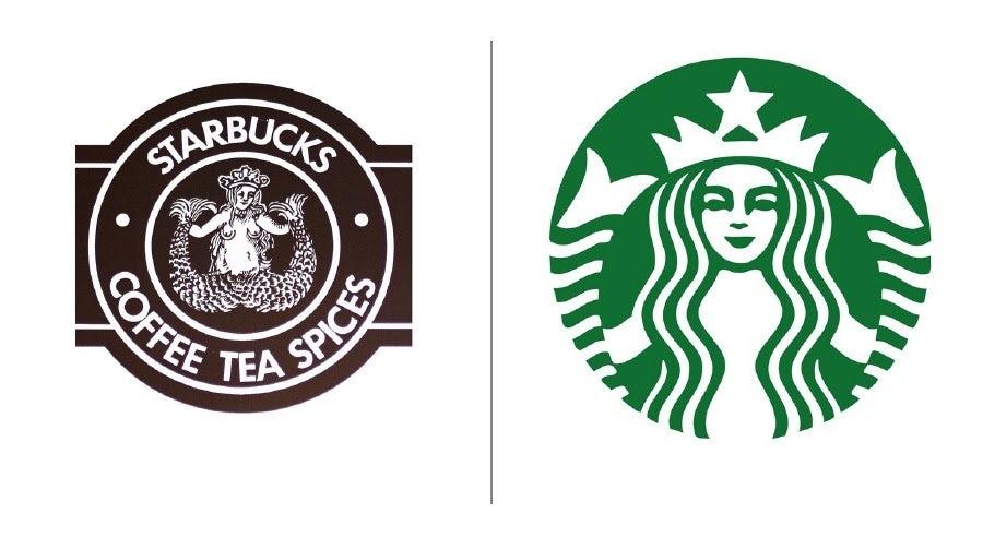 """Примеры эволюции логотипа Starbucks """"width ="""" 900 """"height ="""" 492 """"/>    <figcaption> Эволюция логотипа Starbucks с 19371 года до наших дней </figcaption></figure> <p> Любое обсуждение эволюции логотипа знаменитых бренды всегда должны упоминать Starbucks: гадкий утенок превратился в прекрасного лебедя. Если вы думали, что русалки должны быть воплощением красоты, вы, вероятно, никогда не видели оригинальный логотип Starbucks 1970-х годов. </p> <p> Вам, вероятно, не нужно объяснять, почему они его изменили. В частности, в сфере продуктов питания и напитков вы хотите привлечь клиентов, а не отпугнуть их. Что интересно в эволюции логотипа Starbucks, так это то, что, несмотря на недостатки оригинала, последующие изменения дизайна остались на удивление точными. </p> <figure data-id="""