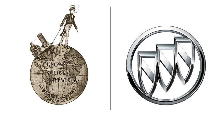 """Примеры эволюции логотипа Buick """"width ="""" 900 """"height ="""" 483 """"/>    <figcaption> Развитие логотипа Buick с 1899 года до наших дней </figcaption></figure> <p> Что было не так с первым логотипом Buick, Вы говорите? Что говорит «современная автомобильная компания» лучше, чем щеголеватый мужчина в цилиндре, идущий через полярный круг с примитивным паровым двигателем? </p> <p> Как и Pepsi, Buick заново изобретал себя снова и снова. За свои 116 лет они использовали всевозможные логотипы, от почти неразборчивых словесных логотипов… </p> <figure data-id="""