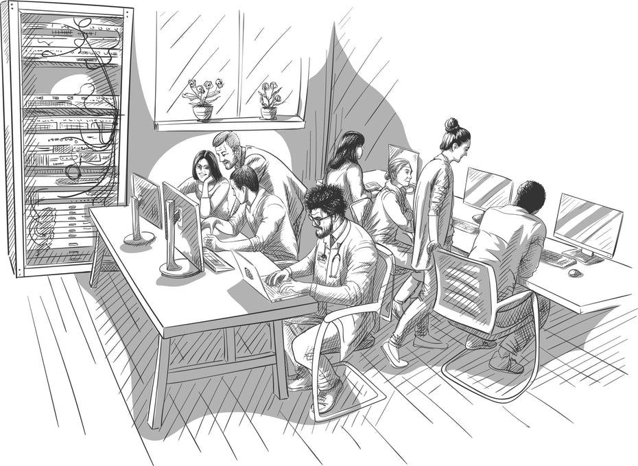 """Иллюстрация в стиле эскиза людей, работающих за компьютером """"width ="""" 2560 """"height ="""" 1869 """"/>    <figcaption> Обычно для создания веб-сайта требуется несколько специалистов, в том числе веб-дизайнеры. Иллюстрация Константина Костенко </figcaption></figure> <p> Короче говоря, веб-дизайнер ссылается на цели, поставленные стратегом веб-сайта и каркасом UX-дизайнера, и объединяет контент графических дизайнеров, копирайтеров и дизайнеров пользовательского интерфейса в готовый макет веб-страницы. Затем разработчики берут этот файл макета дизайна, разделяют и экспортируют графические элементы и используют код, чтобы превратить его в живую веб-страницу. Все это означает, что если вы хотите нанять веб-дизайнера, у вас должна быть своя стратегия и большая часть ваших содержание веб-сайта либо обработано, либо закончено. </p> <p> С учетом всего сказанного, относитесь к этим должностным инструкциям с недоверием. Они являются обобщениями и описывают традиционные определения этих ролей. Как упоминалось ранее, многие люди используют термин «веб-дизайнер» в широком смысле, поэтому для разных людей он может означать разные вещи. Роли могут частично совпадать — большинство веб-дизайнеров проводят собственные исследования рынка, имеют графический дизайн и пользовательский интерфейс, а некоторые даже могут выполнять функции разработчиков (особенно в области пользовательского интерфейса). Также нередко компании (или клиенты) совмещают роли и обязанности в зависимости от своего бюджета. Перед тем как приступить к проекту, всегда убедитесь, что вы согласны со своими ожиданиями от роли. </p> <h2 id="""