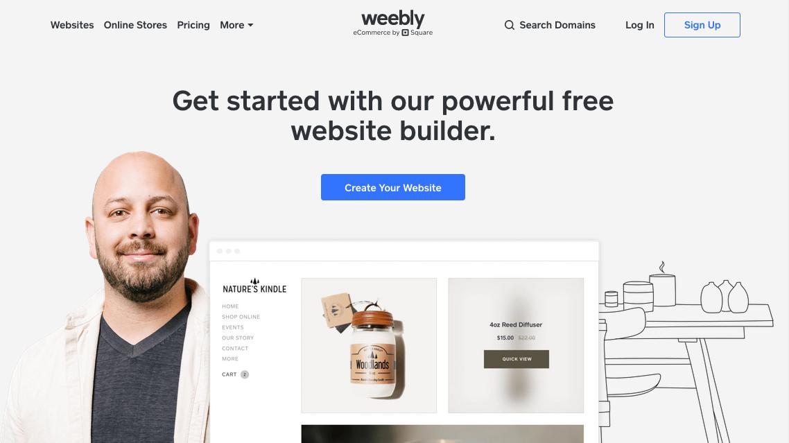 """Скриншот с веб-сайта Weebly """"width ="""" 1138 """"height ="""" 639 """"/>    <figcaption> через Weebly </figcaption></figure> <p> Главный соперник Wix, Weebly предлагает более продвинутые возможности, чем другие бесплатные конструкторы сайтов в этом списке. Хотя у них меньше функций, чем у Wix, в целом редактор сайтов Weebly работает так же, как Wix, включая интерфейс перетаскивания. </p> <p> Weebly выделяется своими практическими инструментами SEO, которые доступны в бесплатной версии. В правильных руках эти варианты могут иметь решающее значение и предоставить отличную стартовую платформу для масштабных кампаний цифрового маркетинга. В сочетании с масштабируемостью это делает Weebly хорошим выбором для малых предприятий с большими планами. К сожалению, их функции электронной коммерции доступны только для платных планов. </p> <p id="""