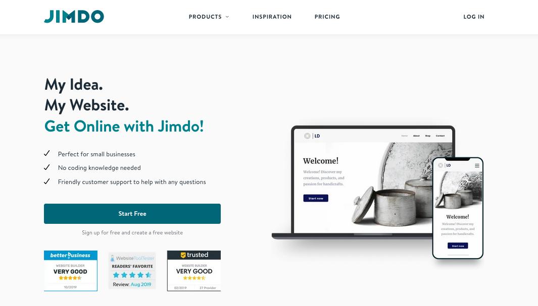 """Скриншот с веб-сайта Jimdo """"width ="""" 1065 """"height ="""" 607 """"/>    <figcaption> через Jimdo </figcaption></figure> <p> Получение бесплатного веб-сайта — это одно, но получение бесплатной электронной коммерции К счастью, Jimdo предлагает все необходимое для открытия вашего собственного (ограниченного) интернет-магазина бесплатно, чтобы помочь начинающим интернет-магазинам «замочить ноги». </p> <p> Jimdo на самом деле предлагает немного больше, чем другие бесплатные конструкторы веб-сайтов с точки зрения функций, но компромисс заключается в том, что вы можете продавать только пять продуктов, и ваш сайт <em> не </em> будет проиндексирован поисковыми системами. Тем не менее, вы сможете принимать платежи через PayPal, не говоря уже о 2 ГБ полосы пропускания — больше, чем в среднем для бесплатных веб-разработчиков — и 500 МБ хранилища. </p> <p id="""