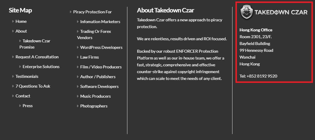 "Веб-сайт Takedown Czar ""width ="" 1061 ""height ="" 473"