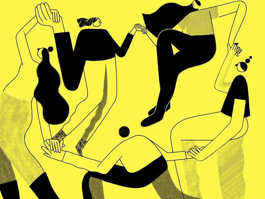 "Желтая танцующая иллюстрация ""width ="" 1600 ""height ="" 1200 ""/>    <figcaption>автор Fran Pulido Via Dribbble </figcaption></figure> <div class="
