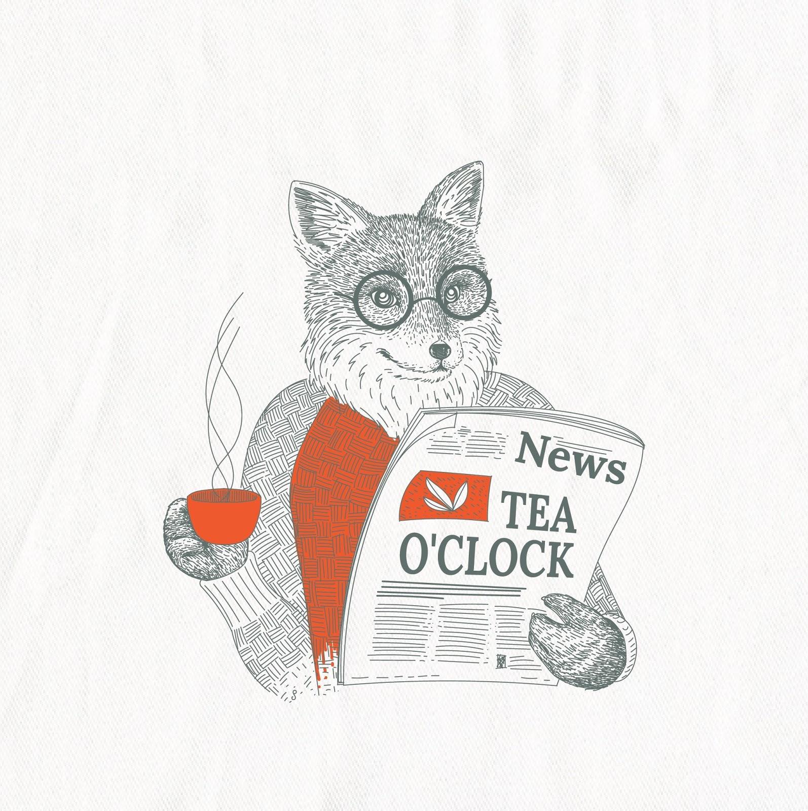 "Фокс читает газету и пьет чай ""width ="" 1594 ""height ="" 1600"