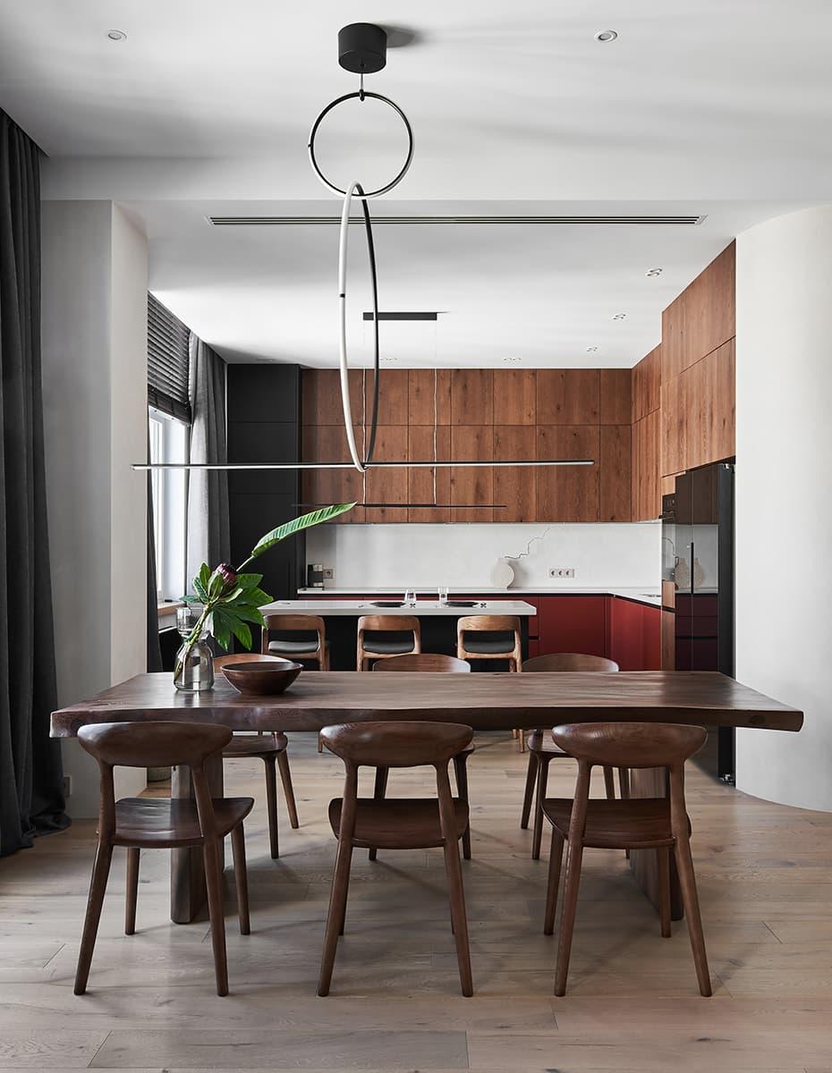 Квартира с камином в стиле эко-минимализм — проект архитектурного бюро Nikolai Bannikov Interiors