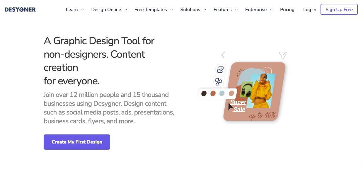 """Альтернативы Canva: Desygner """"width ="""" 1239 """"height ="""" 577 """"/>    <figcaption> Альтернативы Canva: Desygner </figcaption></figure> <p> Desygner использует аспект« простого в использовании » Canva и работает с ней. Все создано для работы с любителями и начинающими дизайнерами — это в их слогане: «Инструмент графического дизайна для не дизайнеров». Они превосходно достигают этой цели, не жертвуя слишком многими функциями, чтобы упростить все. Фактически, у них больше удобных шаблонов и стоковых изображений, чем у других конкурентов Canva. </p> <p> Возможно, это самая удобная из альтернатив Canva. Desynger — это простое дизайнерское приложение, которое отлично работает на мобильных устройствах, поэтому идеально подходит для путешествий. Еще одно замечательное преимущество — вы можете легко редактировать PDF-файлы, что пригодится, когда вам это нужно больше всего. Он также по конкурентоспособной цене, что делает его надежным инструментом для самостоятельного проектирования. </p> <h3 id="""