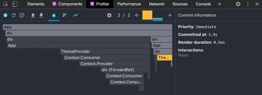 """Сеанс профилирования, показывающий только один визуализированный компонент """"title ="""" Сеанс профилирования, показывающий только один визуализированный компонент """"loading ="""" lazy """"style ="""" width: 100%; height: 100%; margin : 0; vertical-align: middle; position: absolute; top: 0; left: 0 """"/> </picture> </span> </p> <p> Я не хочу, чтобы вы зацикливались на количестве миллисекунд повторно отрендерить.<br /> не является контролируемым тестом (с одной стороны, мы находимся в режиме разработки React). В<br /> Я хочу, чтобы вы обдумали, сколько компонентов необходимо повторно отрендерить для этого<br /> изменять. Давайте сначала рассмотрим подход <code> ThemeProvider </code>. Основная причина<br /> так мы структурировали наше состояние<br /> (мы могли бы реструктурировать вещи<br /> и немного улучшить). Но даже если мы реструктурируем вещи, когда тема<br /> изменений, <em> каждый </em> компонент эмоции должен быть переработан, чтобы учесть<br /> изменение темы. </p> <p> Обращаясь к подходу с переменными CSS, вы заметите единственный компонент, который<br /> был повторно обработан наш компонент <code> ThemeToggler </code>отвечающий за обновление<br /> <code> корпус </code>. И все же пользовательский интерфейс работает отлично! Это магия позади<br /> Переменные CSS. Используя подход <code> ThemeProvider </code>мы должны обновить стили<br /> каждого компонента, а затем браузер рисует эти обновления. Но с CSS<br /> Подход с использованием переменных, мы обновляем стили до одного компонента (<code> body </code>) и<br /> затем браузер рисует эти обновления. Краска браузера теоретически должна<br /> требуют того же объема работы со стороны браузера, поэтому единственная разница<br /> сколько работы мы заставляем браузер сделать, чтобы React повторно отобразил все наши<br /> компоненты и вызывайте эмоции, обновляя стили каждого компонента. </p> <p> Это <em> может </em> иметь отрицательные последствия для производительности по мере роста вашего приложения. Учитывая<br /> DX объективн"""