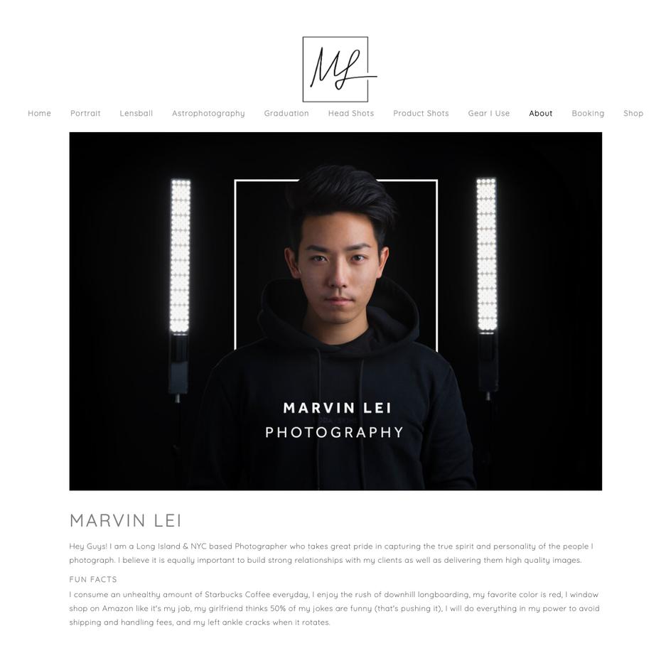 "Скриншот дизайна веб-сайта фотографии для Марвина Лея"" width = ""1191"" height = ""1173"" />    <figcaption> Via Marvin Lei </figcaption></figure> <h2 id="