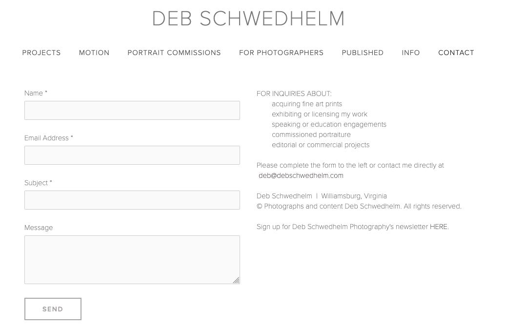 """Скриншот дизайна веб-сайта фотографии для Деб Шведхельм """"width ="""" 1035 """"height ="""" 671 """"/>    <figcaption> Виа Деб Шведхельм </figcaption></figure> <h2><span id="""