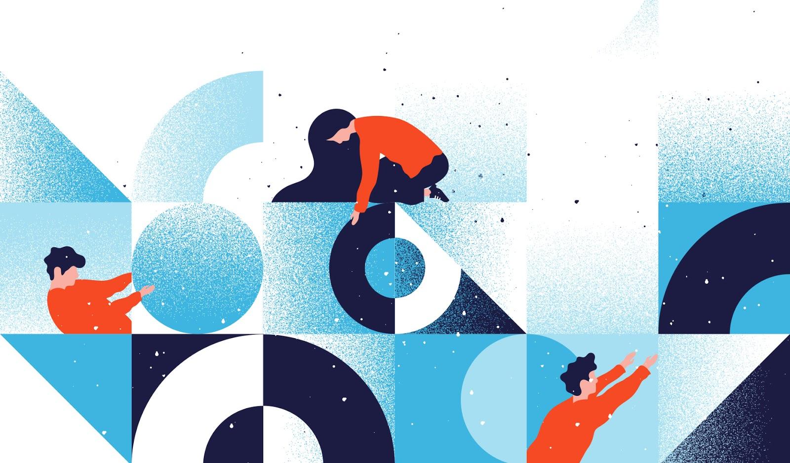 """Современная абстрактная иллюстрация с изображением графики, вдохновленной дизайном Мемфиса """"width ="""" 1600 """"height ="""" 938"""