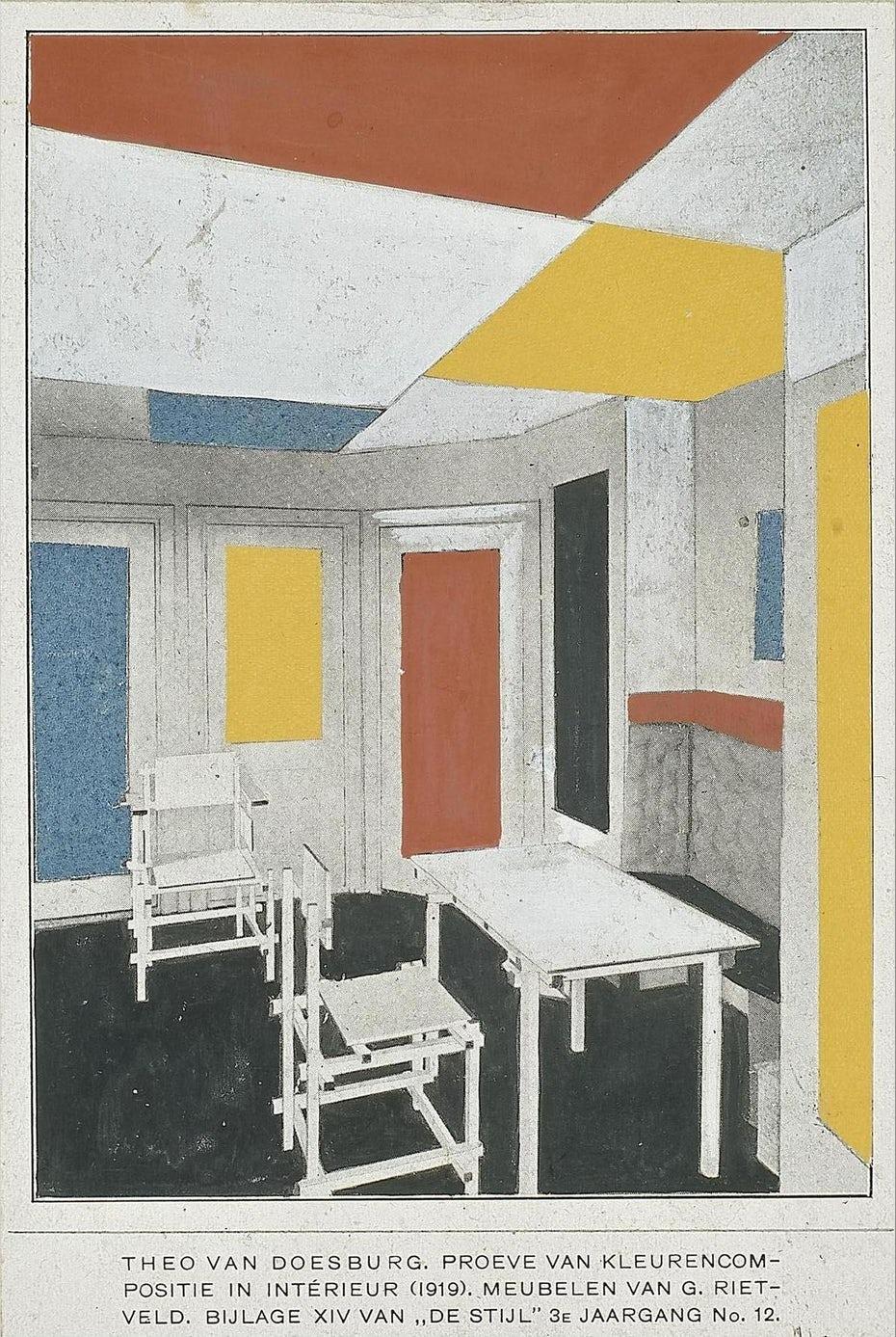 """Дизайн интерьера De Stijl """"width ="""" 1199 """"height ="""" 1788"""