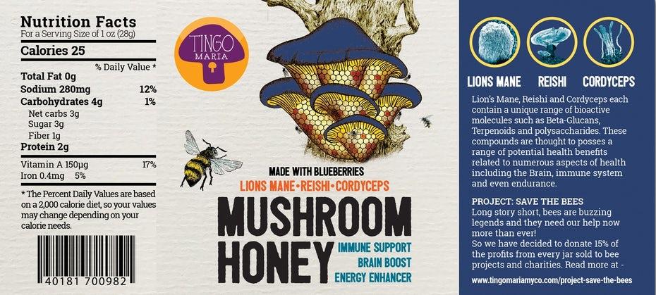"""две этикетки продукта с изображением грибов, один с фиолетовым колпачком, а другой - с синим """"width ="""" 1741 """"height ="""" 785"""