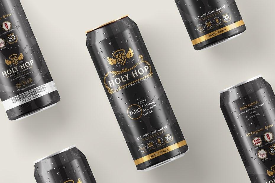 """черный и золотой дизайн банки для безалкогольного пива """"width ="""" 2000 """"height ="""" 1333"""