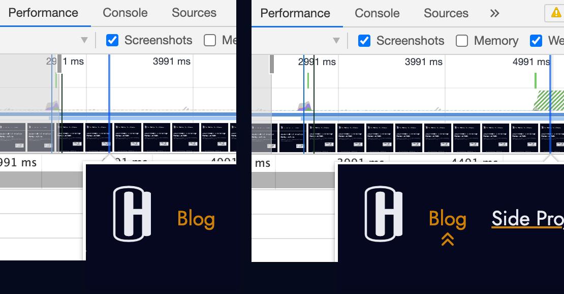 """Снимок экрана навигации до и после загрузки значка. """"Loading ="""" lazy """"/>    <figcaption> Регулирование сети в Chrome DevTools для имитации медленного соединения 3G позволяет на вкладке производительности фиксировать задержку между отображением HTML и отображение фонового изображения CSS.<br />   </figcaption></figure> <h2 id="""