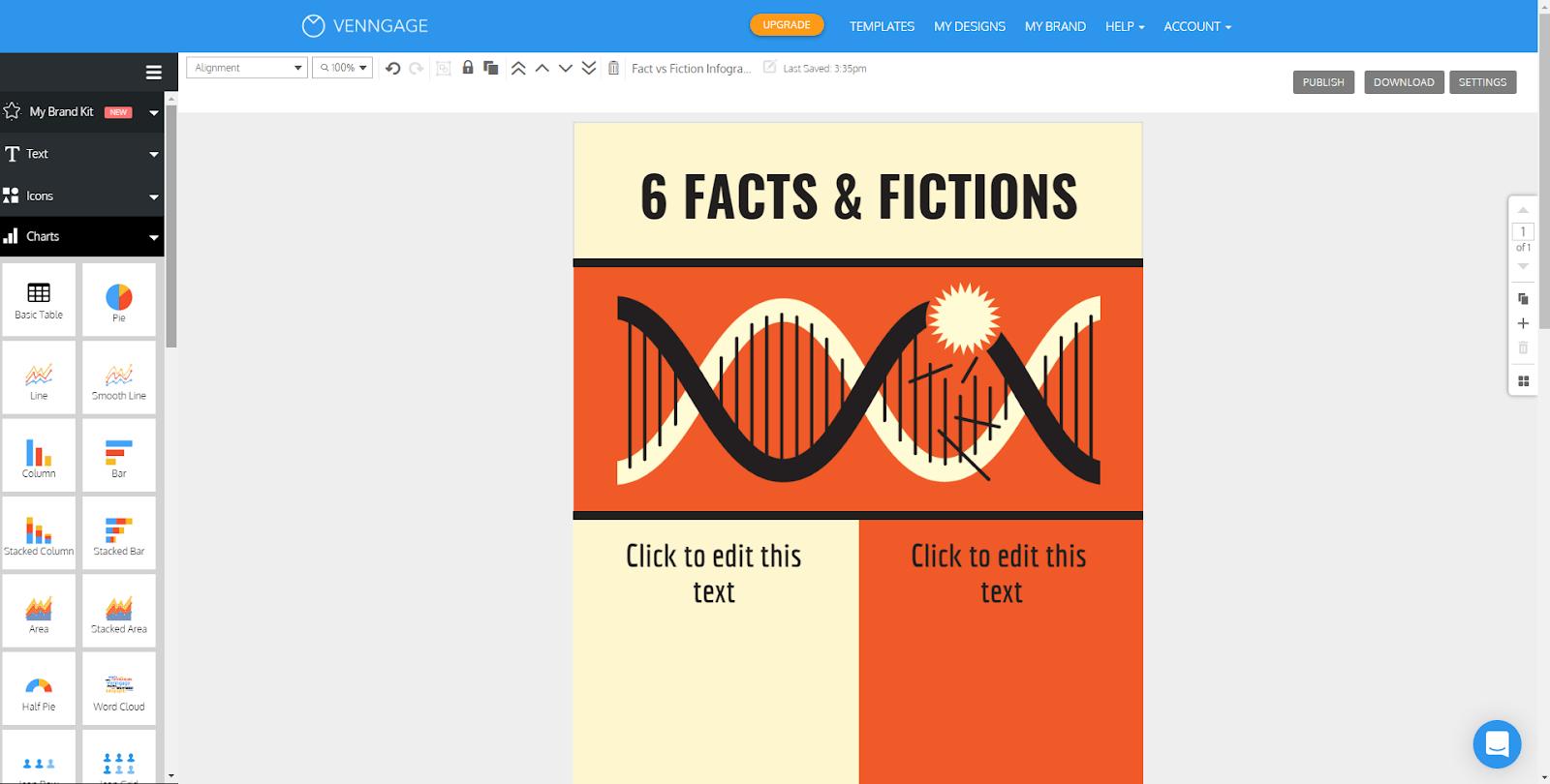 """Создатель инфографики на сером фоне с коричнево-оранжевой инфографикой в процессе работы """"width ="""" 1600 """"height ="""" 810 """"/>    <figcaption> Via Venngage </figcaption></figure> <figure data-id="""
