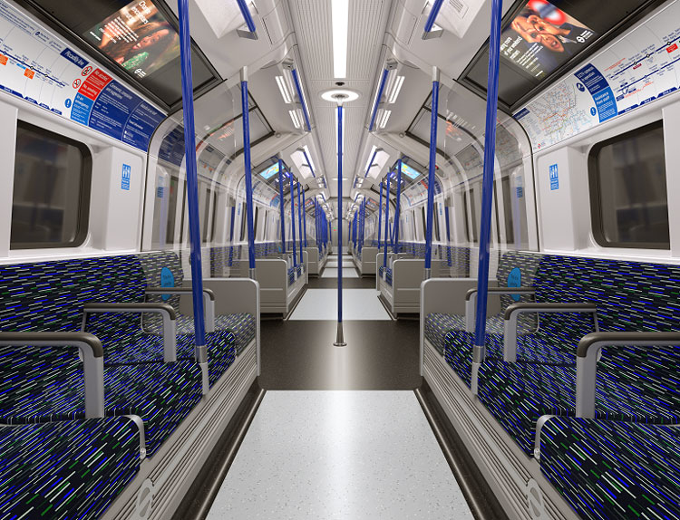 """новые поезда линии Пикадилли """"width ="""" 750 """"height ="""" 574 """"/>    <figcaption> Предоставлено TfL </figcaption></figure> <p> Каждый поезд Inspiro будет иметь открытые проходные вагоны, которые По словам Сименса, стремятся создать «легкий и воздушный вид» для пассажиров, а также предоставить больше места для передвижения во время путешествия. </p> <p> Благодаря шарнирно-сочлененной конструкции для новых поездов требуется меньше тележек (конструкция, содержащая колеса, двигатели и подвеску) на поезд, что позволяет максимально увеличить внутреннее пространство и повысить комфорт движения, добавляет Сименс. Согласно прогнозам, мощность будет увеличена на 10%. </p> <p> Бортовые кондиционеры HVAC, расположенные под полом, призваны сделать путешествие более комфортным, — говорит Сименс. Линия проходит через многие горячие точки в центре Лондона, такие как Гайд-парк, который особенно загружен в летние месяцы. </p> <p> На изображениях виден черно-синий мокет, соответствующий цвету Пикадилли на карте метро. Компания добавляет, что во всех вагонах есть несколько экранов, чтобы «отображать динамическую информацию о поездках, а также рекламу и видео». Они предоставляют пассажирам информацию, например, о предстоящей остановке. </p> <hr/> <h2><span id="""